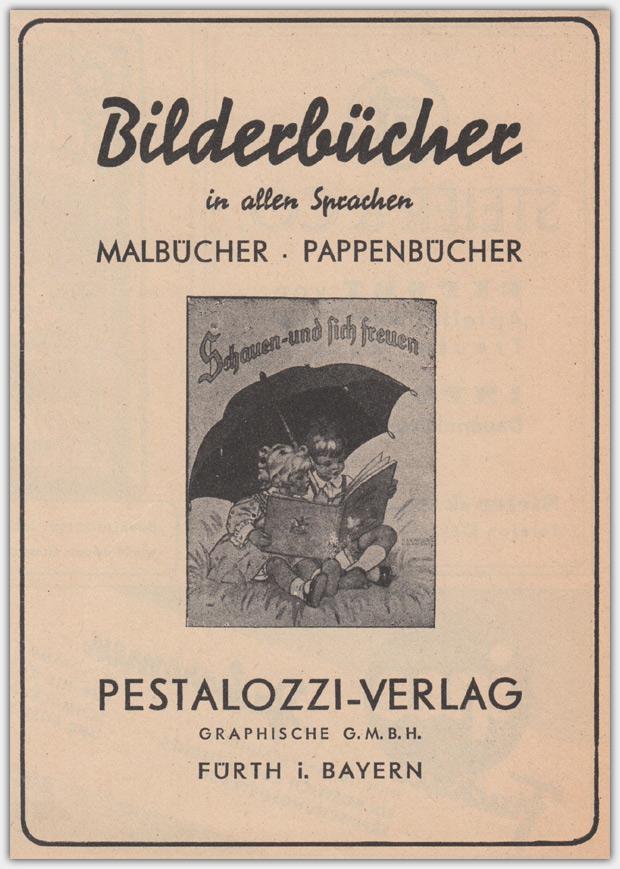"""Anzeige aus dem Jahr 1943, Abgebildet ist das Buch """"Schauen und sich freuen"""" von Ilse Wende-Lungershausen, Muck II 5374"""