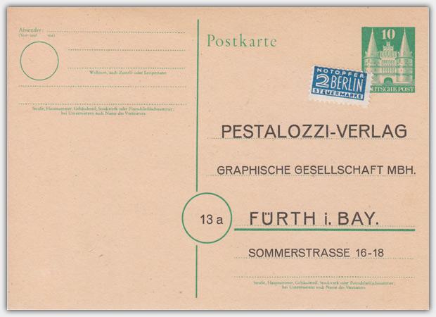 Werbepostkarte aus dem Jahr 1949, Die Karte ist als Werbeantwort für Händler gedacht.