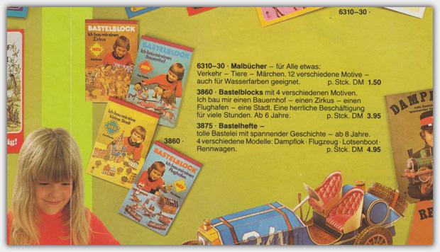 Bastelblocks im Flyer von 1980