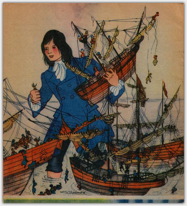 Gullivers Reisen | Illustration Gulliver mit Schiff