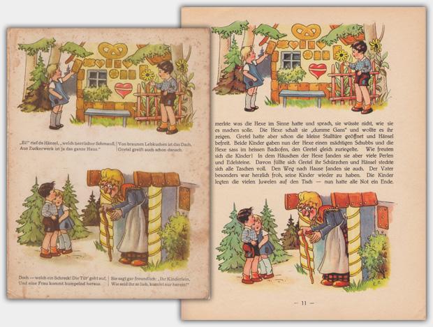 Gegenüberstellung Illustration | links: Hänsel und Gretel | rechts: Sammlung Deutscher Märchen