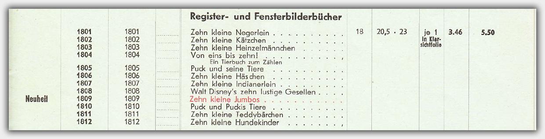 Register- und Fensterbilderbücher in der Preisliste von 1969