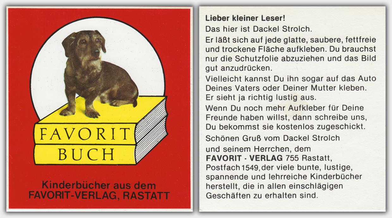 Aufkleber Favorit Verlag | ca. Anfang der 1970er Jahre | Vor- und Rückseite