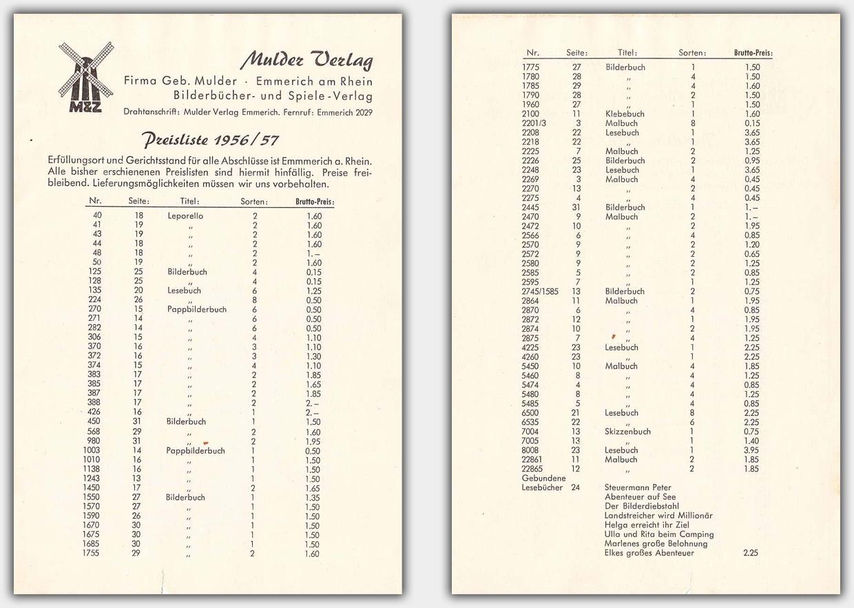 Mulder Katalog 1956 / 1957 | separate Preisliste Vor- und Rückseite
