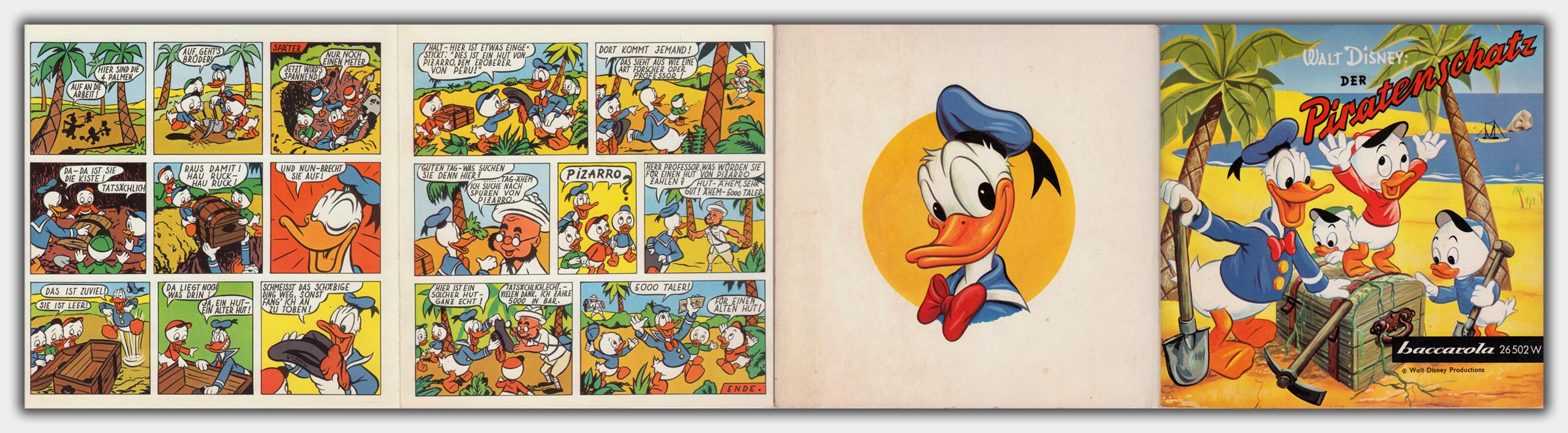 Der Piratenschatz | entfaltet | Comic Seite 4; Comic Seite 5; Rückseite; Titel