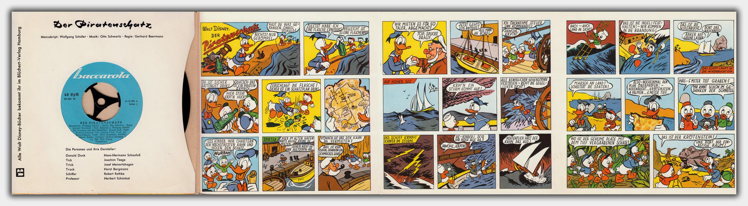 Der Piratenschatz | entfaltet | 1. Innenseite; Comic Seiten 1 bis 3